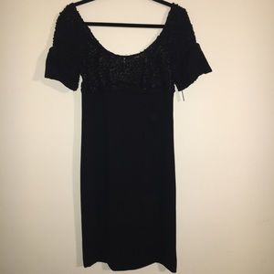 NWT | YANSI FUGEL | BLACK COCKTAIL DRESS WITH BOWS